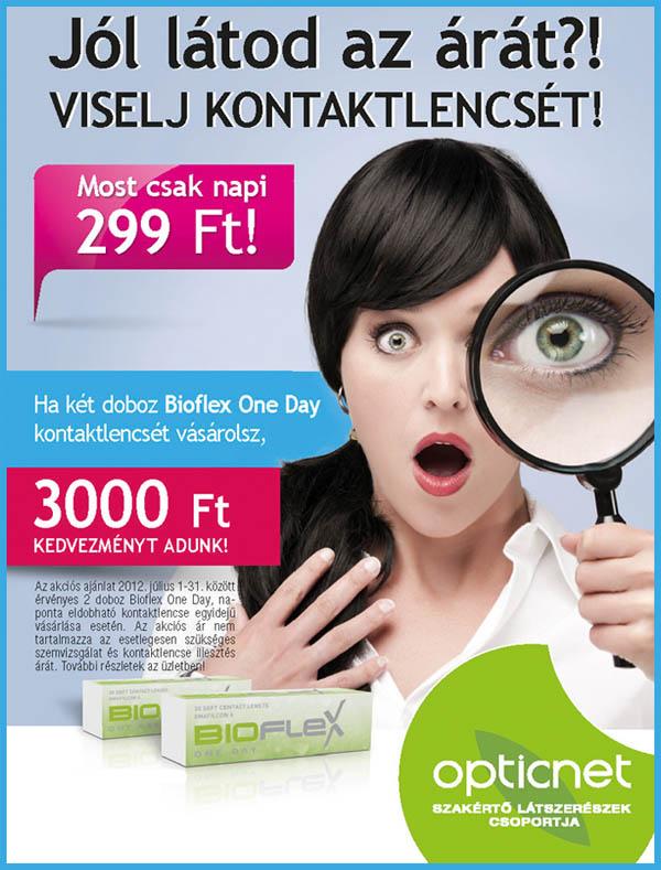 Viselj Bioflex OneDay kontaktlencsét már napi 299 Ft-ért!