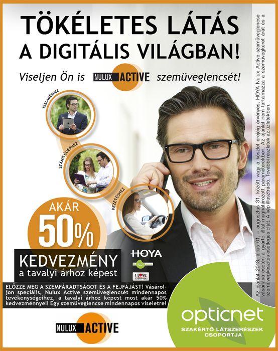 Tökéletes látás a digitális világban Nulux Active szemüveglencsével!