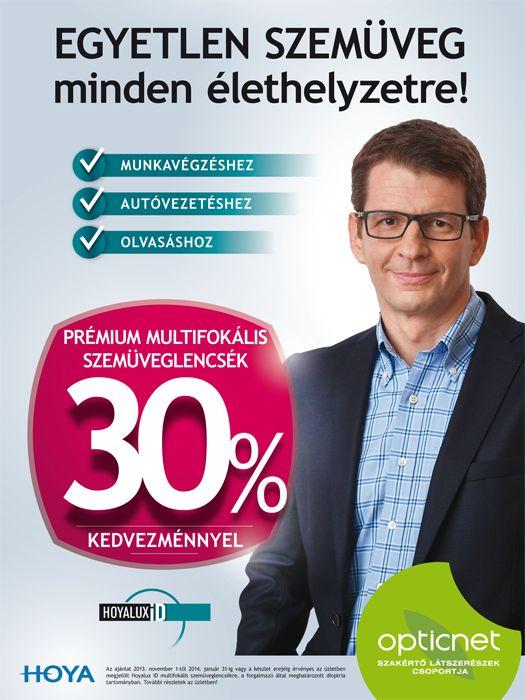 Pémium multifokális szemüveglencsék 30% kedvezménnyel